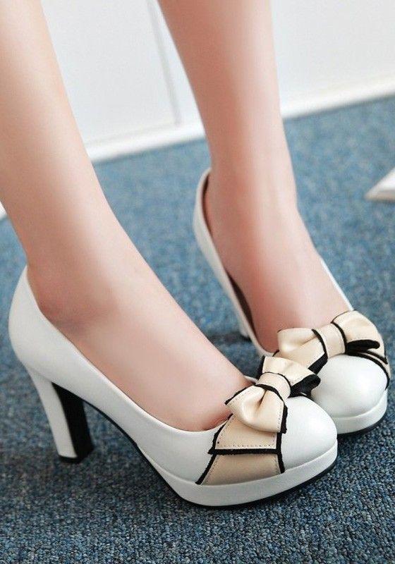 Weiss Runde Zehe Blockabsatz Schleife Elegante High Heels Pumps Damen Schuhe Mit Absatz Mit Bildern Schuhe Damen Schuhe Mit Absatz Slip On Schuhe