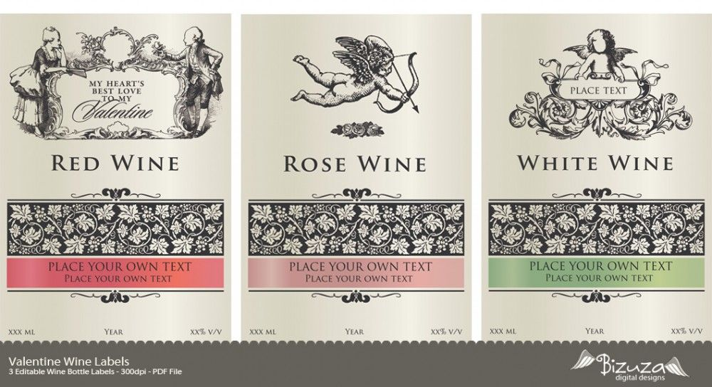 graphic about Printable Wine Labels titled printable wine label Valentine Wine Labels - Editable PDF