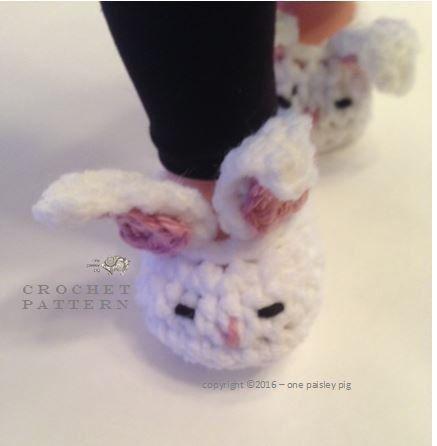 American Girl Doll Sleepy Bunny Slippers - PDF CROCHET PATTERN