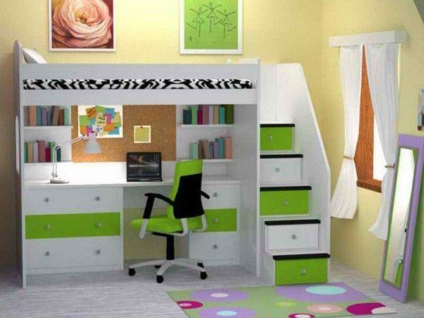 Chambre merveilleux décor avec lit superposé et un bureau d étude