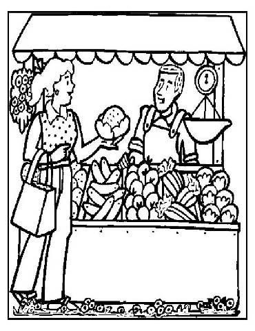 Preschool Grocery Coloring Pages