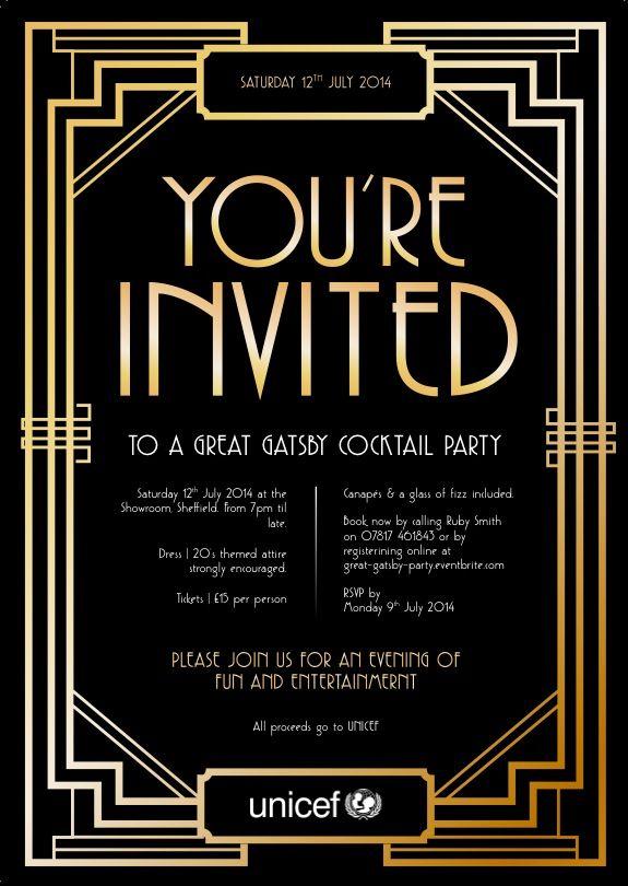 Gatsby Party Invite Gatsby Party Invitations Party Invite Template Gatsby Birthday Party