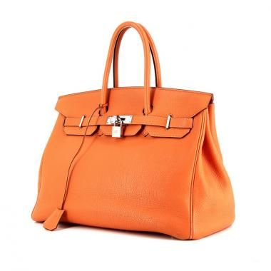 Sac à main Hermes Birkin 35 cm en cuir togo orange   SAC DE LUXE ... 97e5848bd86