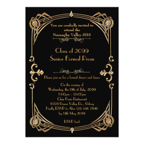 Prom invitation anybody,Gatsby style,glitter gold Gatsby style - prom invitation templates