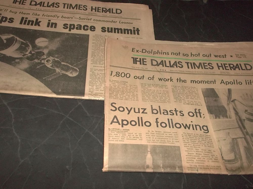 Lot  Vintage Space Newspaper Russian Soyuz Blast Off Apollo