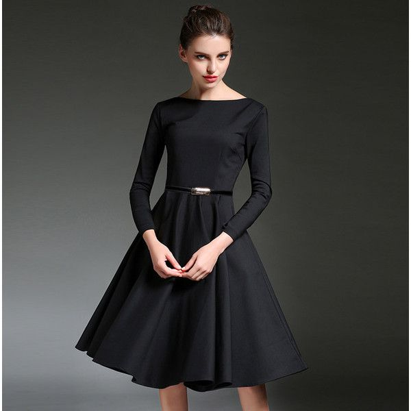 Mid calf black evening dresses
