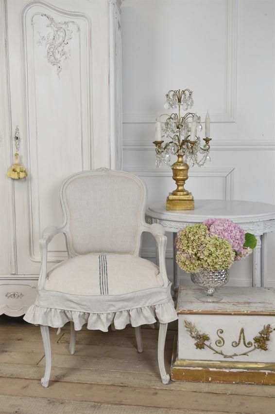 Vintage French Chair With Grainsack Slip Cover From Full Bloom Cottage
