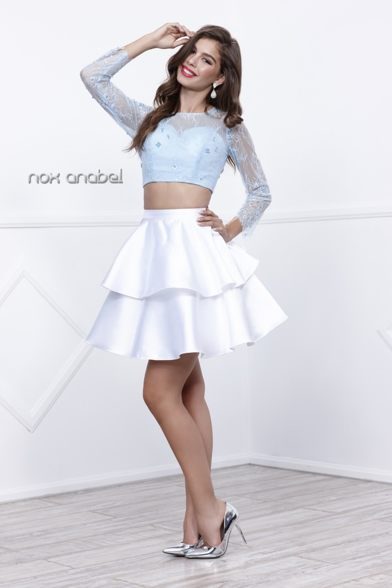 N lace longsleeved twopiece with layered satin skirt in