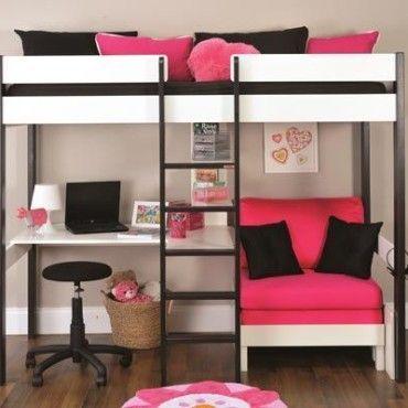 Photos Of Metal Frame For Loft Bed With Futon And Desk Beliche Com Escrivaninha Camas Legais Ideias De Decoracao De Quartos