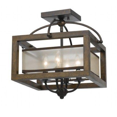 plafonnier en m tal fini bronze fer avec cadrage en bois chandelier l 39 int rieur entour d 39 un. Black Bedroom Furniture Sets. Home Design Ideas