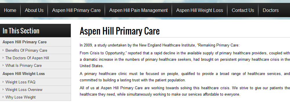 Primarycareaspenhill is the place where patients first