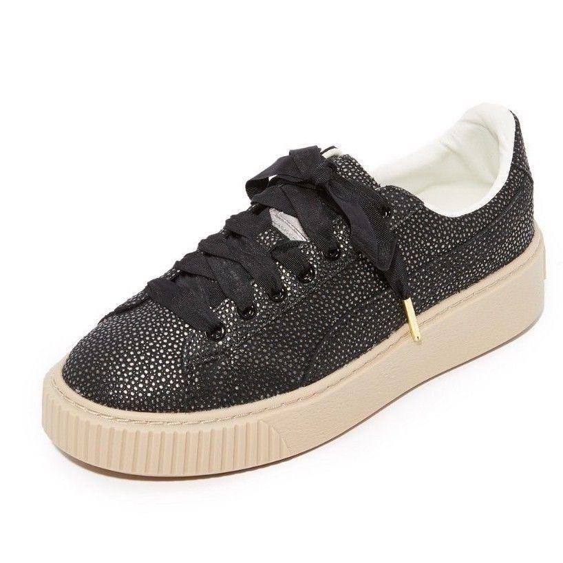 PUMA Women's Platform Lux Wn Sneaker, Black Black, 7.5 M US