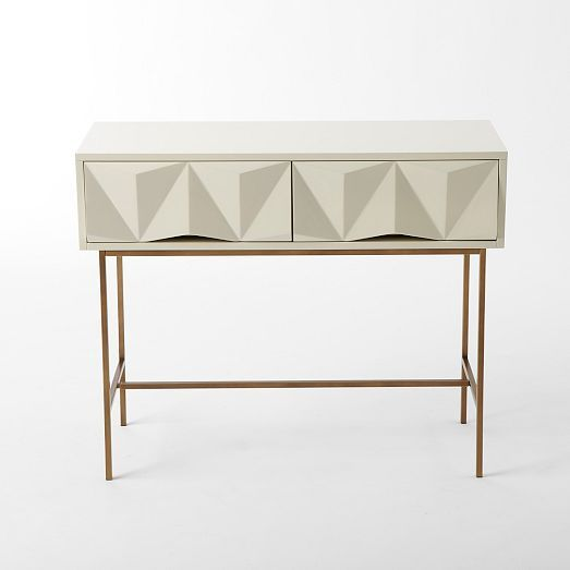 Sculpted Geo Console Parchment Entryway Tablesconsole Tablesend Tableswest Elm