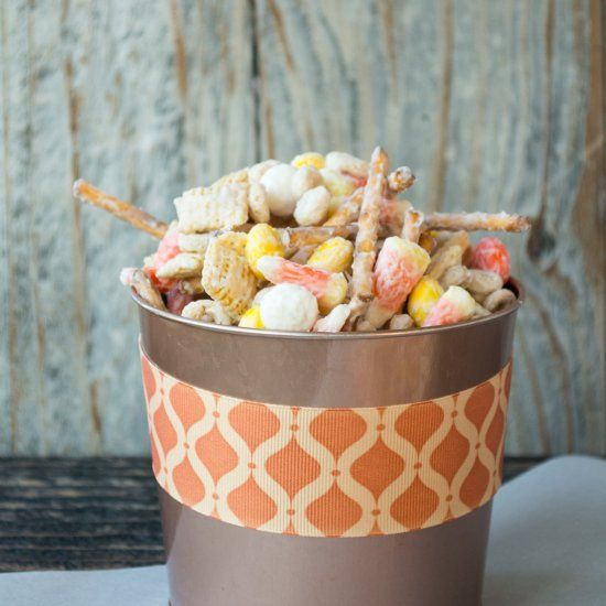 Crunchy chex and pretzels coated with white chocolate for Halloween.