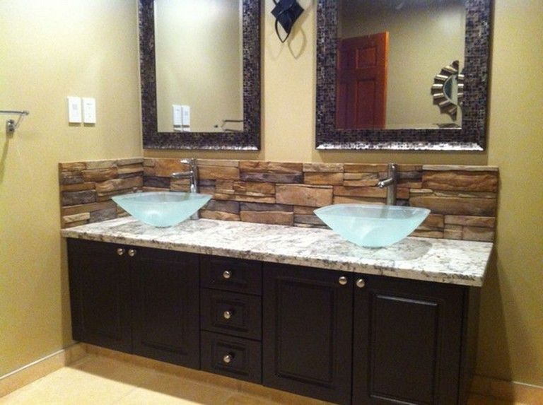 8 Beauty Stone Backsplash Bathroom Design Ideas On A Budget