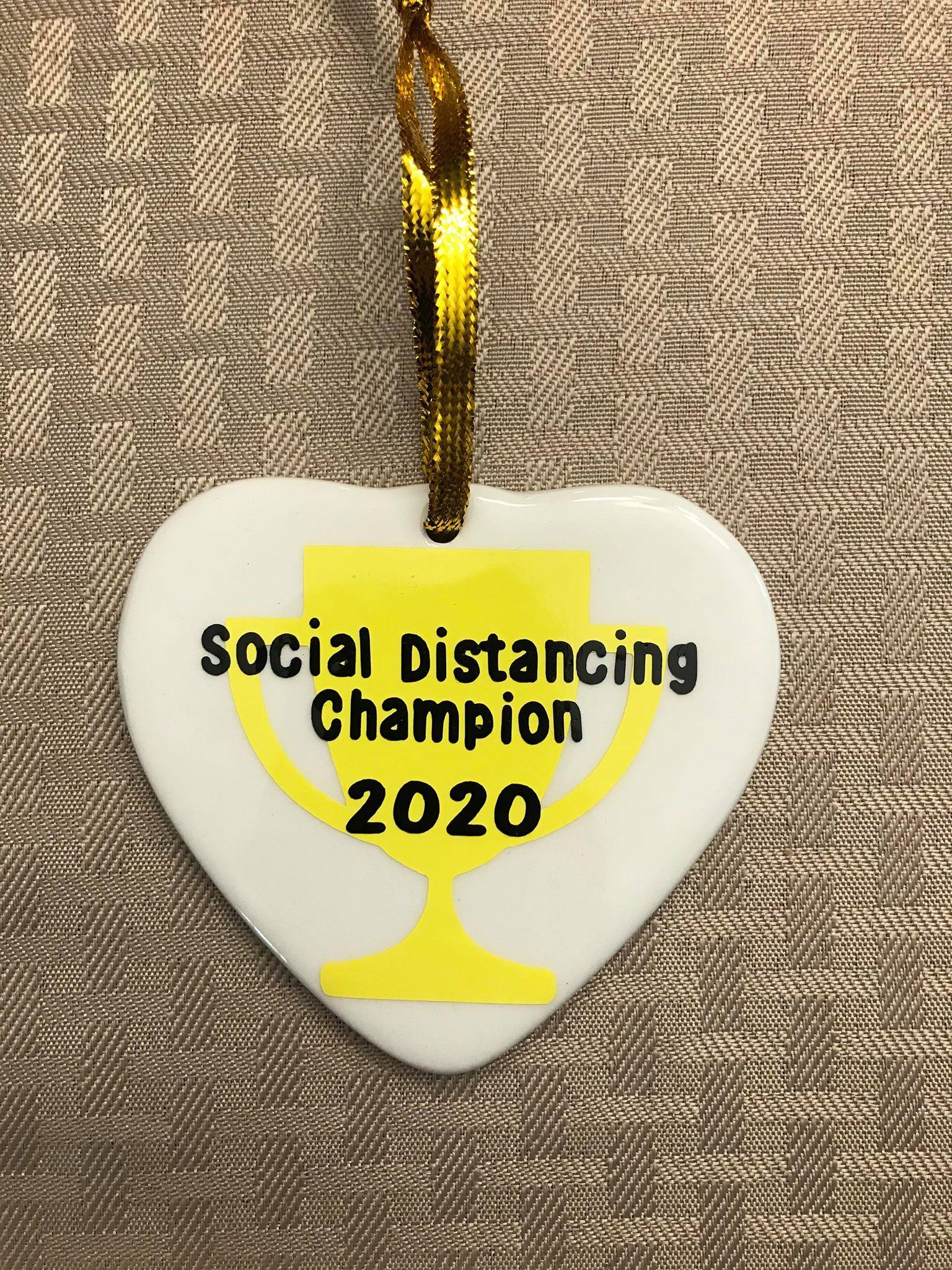 Social Distancing Champion Christmas Ornament In 2020 Wood Christmas Ornaments Christmas Ornaments Family Christmas Gifts