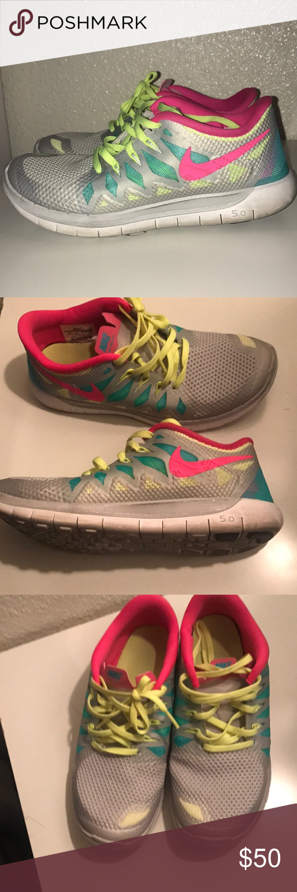 Bright neon Nike Free 5.0 These are size 6 Youth which is equivalent to a  Woman s 7.5. Only worn about 5 times  Great 132687d1c