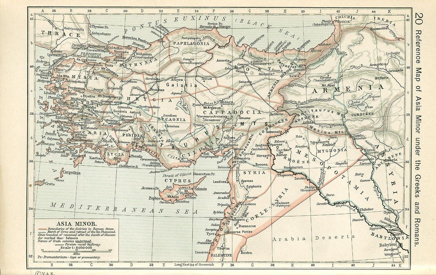 Reference Map Of Asia Minor Under The Greeks And Romans