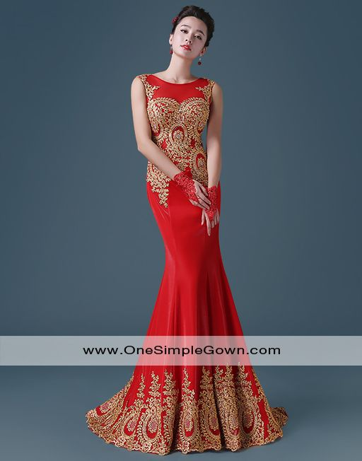 Luxury Embroidery Red Blue Dinner Dress Performance