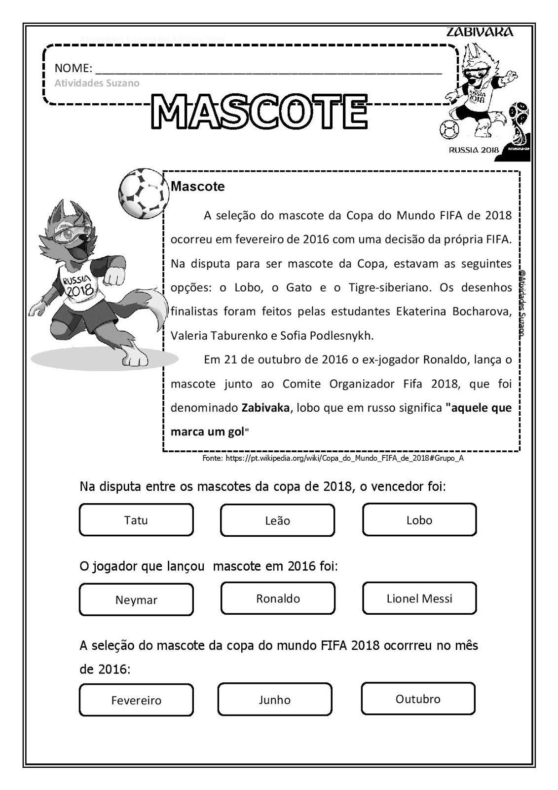 copa 2018 mascote em pdf escola pinterest russia activities
