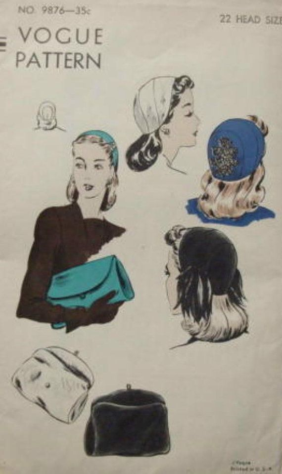 1940s Hat and Bag Women's Vintage Sewing Pattern by kinseysue