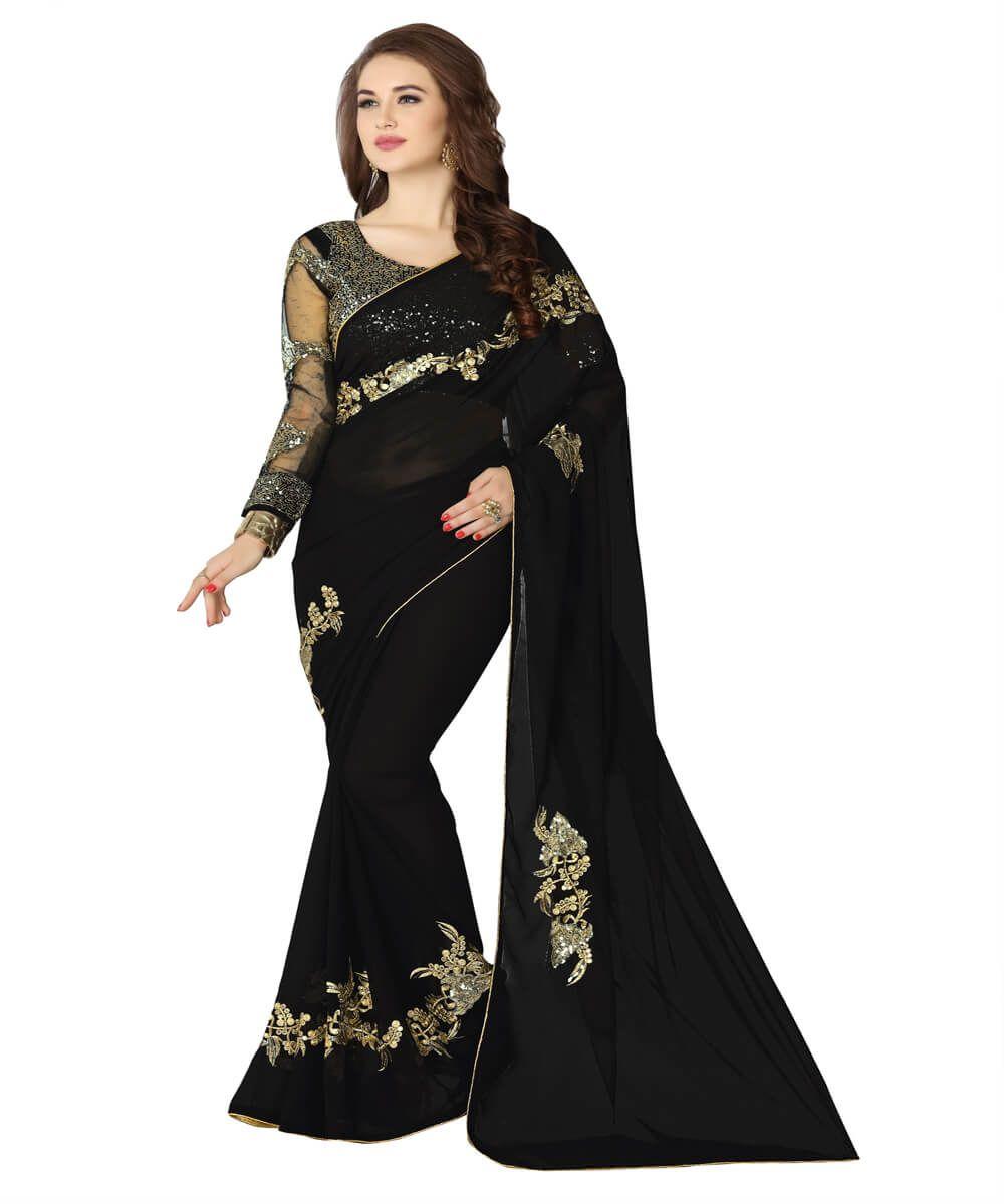 c803f894c3 Buy Georgette Black Color Embroidery Saree #saree #blacksaree  #designersaree #sareeonline #onlinefashion #fashion