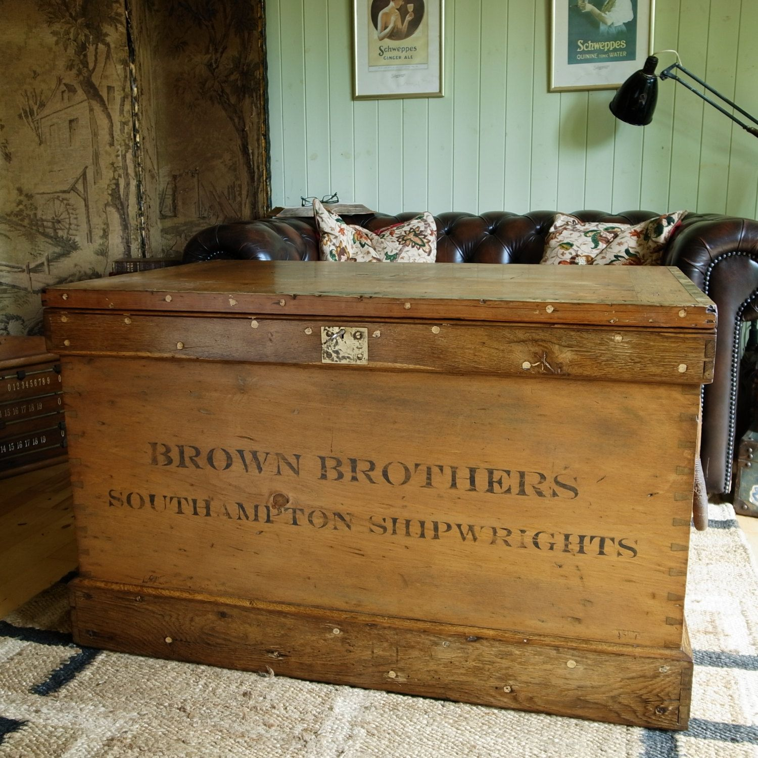 Captivating ANTIQUE VICTORIAN CHEST Rustic Sea Chest Coffee Table Storage Trunk  Industrial Tool Chest Pine Blanket Box