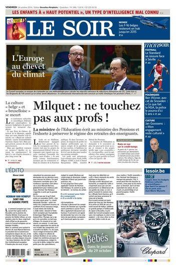 Journal Le Soir du 24.10.14 – édition numérique et PDF