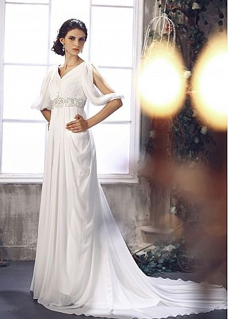 cf944889f447 Elegant Chiffon Sheath V Neck Empire Waist 1/2 Length Sleeve Court Train  Weddign Dress