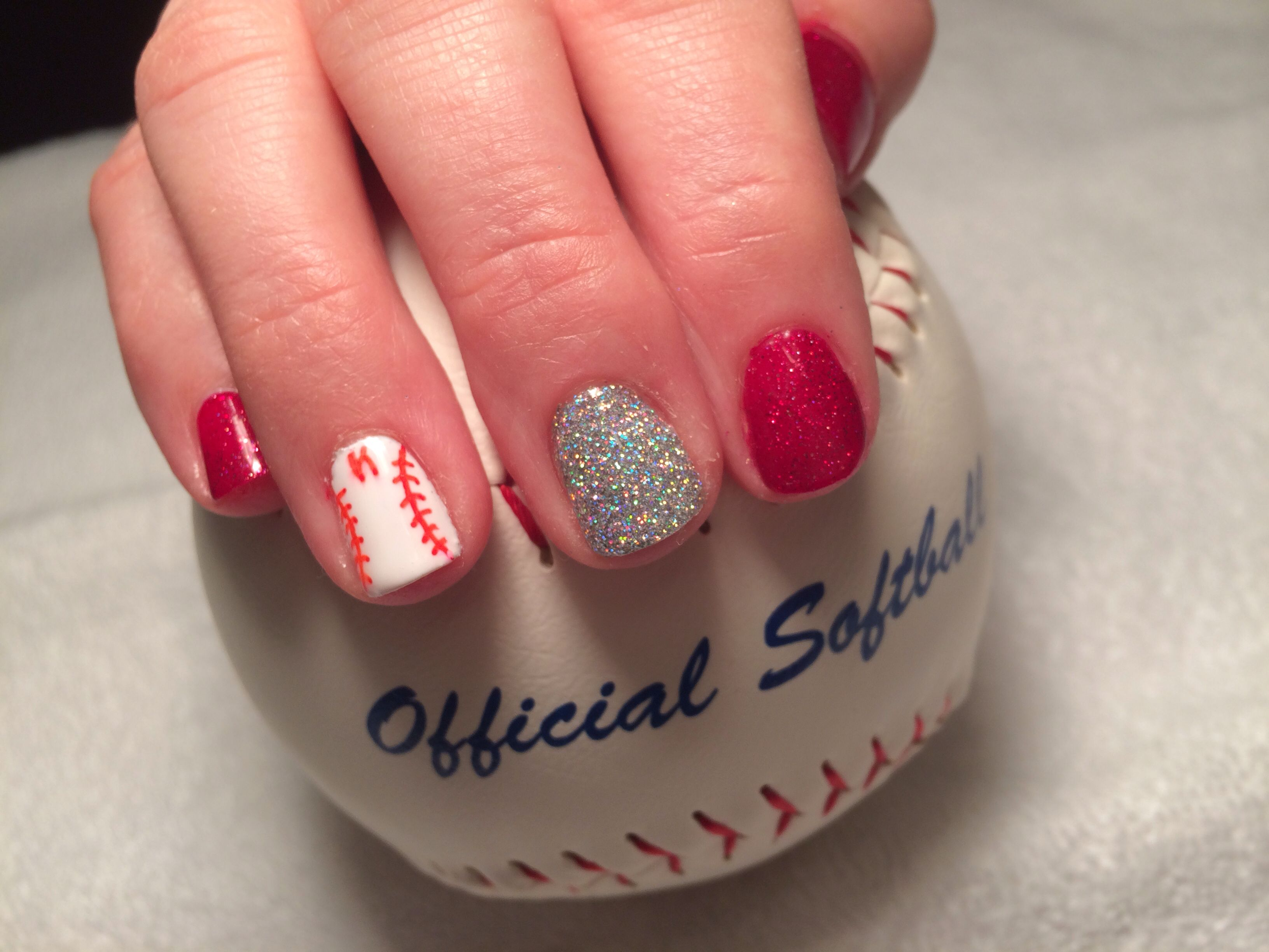 Score a home run with these baseball gel nails with childrens score a home run with these baseball gel nails with childrens initial and 1 rockstar accent prinsesfo Gallery