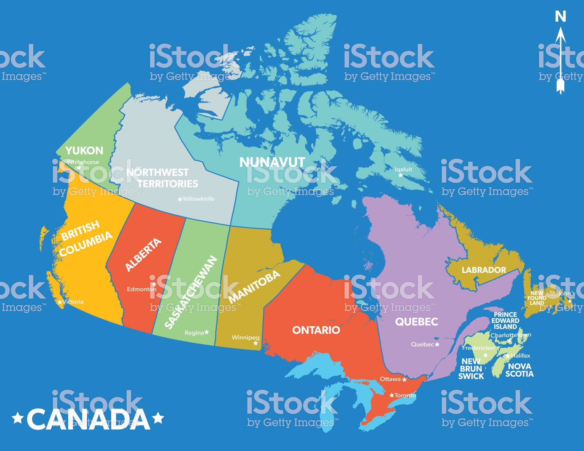 Coloured Map Of Canada With Provinces Colourful Map Of Canada with divided provinces. | Colorful map