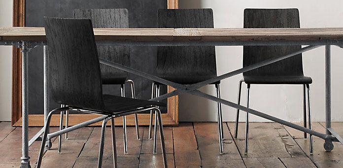 Flatiron Collection In Zinc Dining Table Restoration Hardware