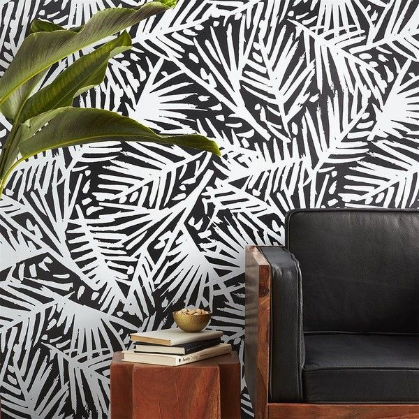 Shop Caymen Black And White Palm Traditional Paste Wallpaper Modern Meets Tropical In This Fresh Leaf Motif By Hygge West