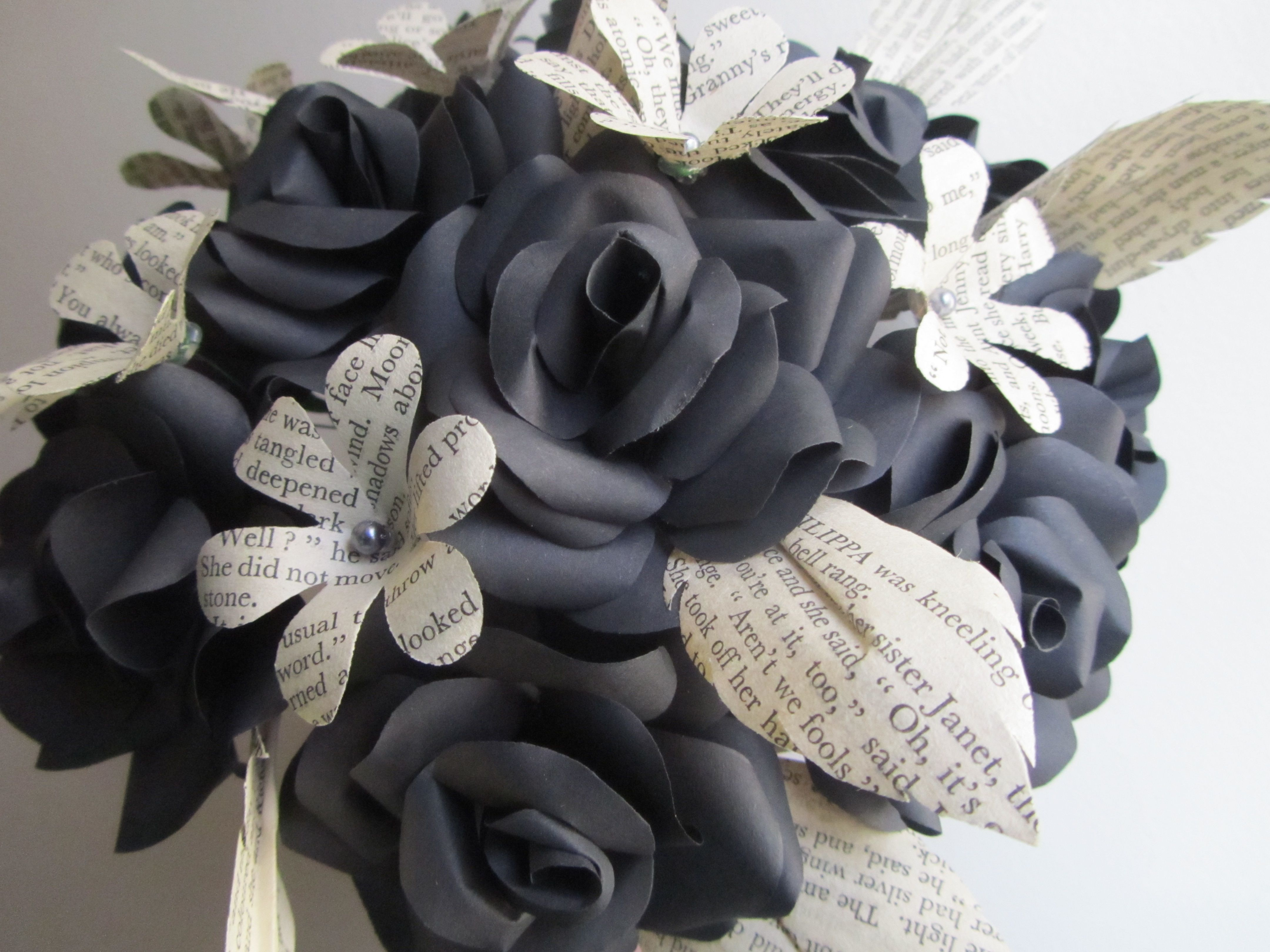 Handmade Black Paper Roses With Book Paper Leaves And Small Flowers
