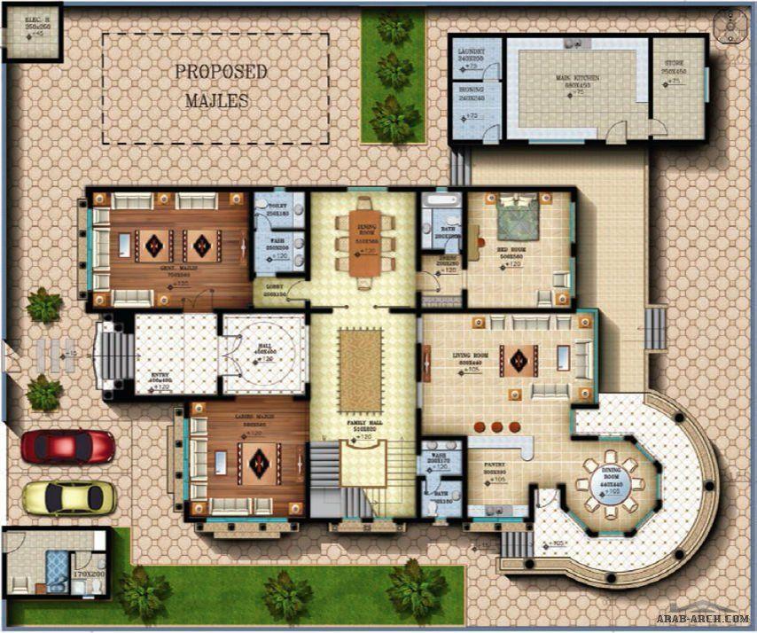 مخطط الفيلا رقم التصميم I2 من مبادرة بيتى 900 متر مربع 6 غرف نوم Classic House Design New House Plans Modern House Exterior