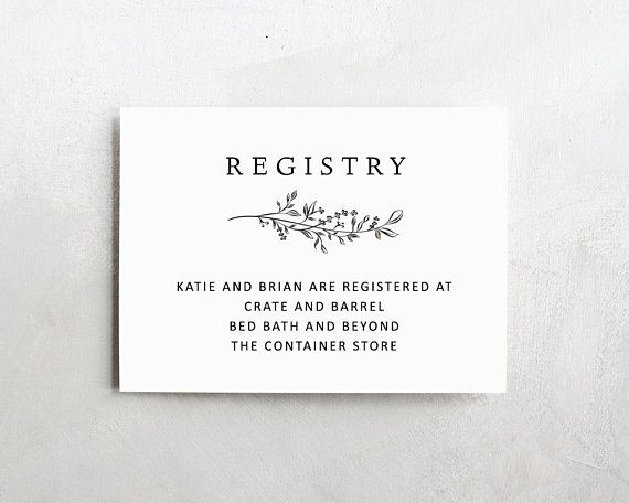 Wedding Registry Card Enclosure Card Template Baby Shower