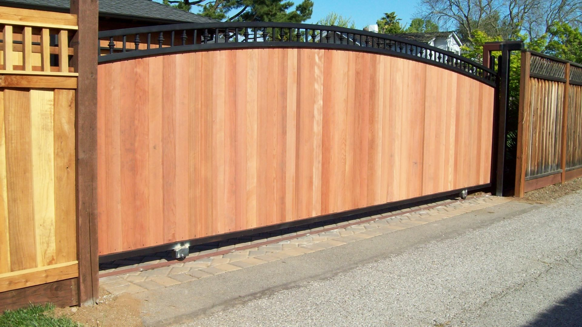 Wrought Iron Fence With Wood Inserts Gates V M Iron Works