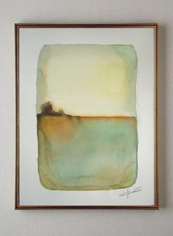 Sunny Day Original watercolor painting abstract by VESNAsART