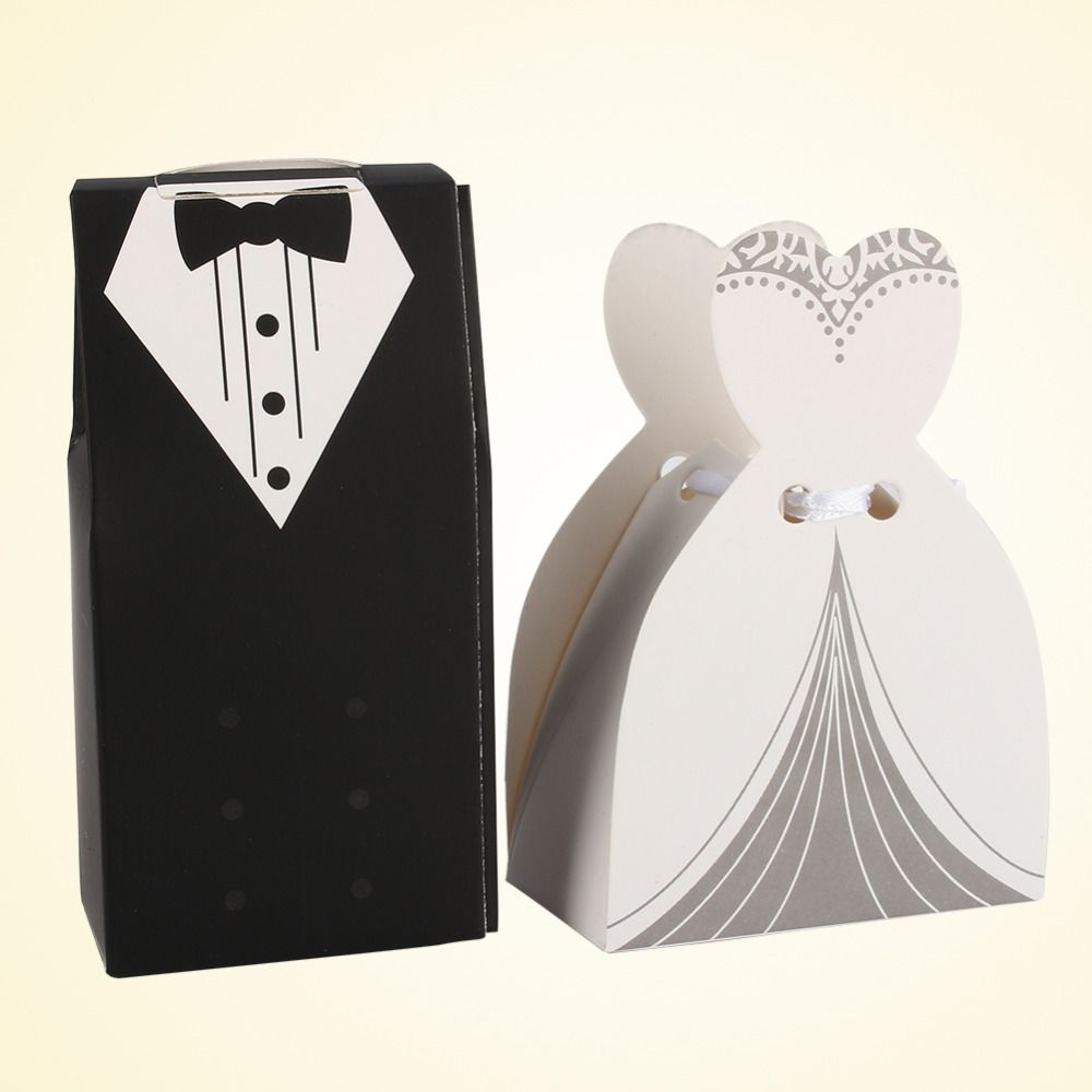 Hot Sell Bridal Groom Tuxedo Dress Gown with Ribbon Candy Box ...