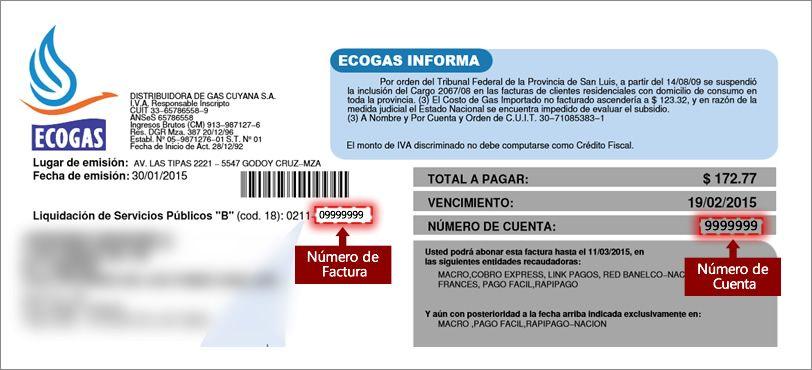 Ecogas - Reimpresión de facturas