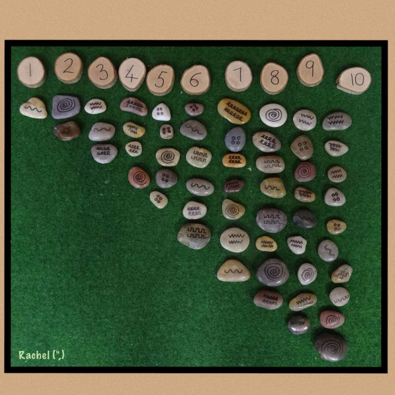 "Counting patterned stones from Rachel ("",)"