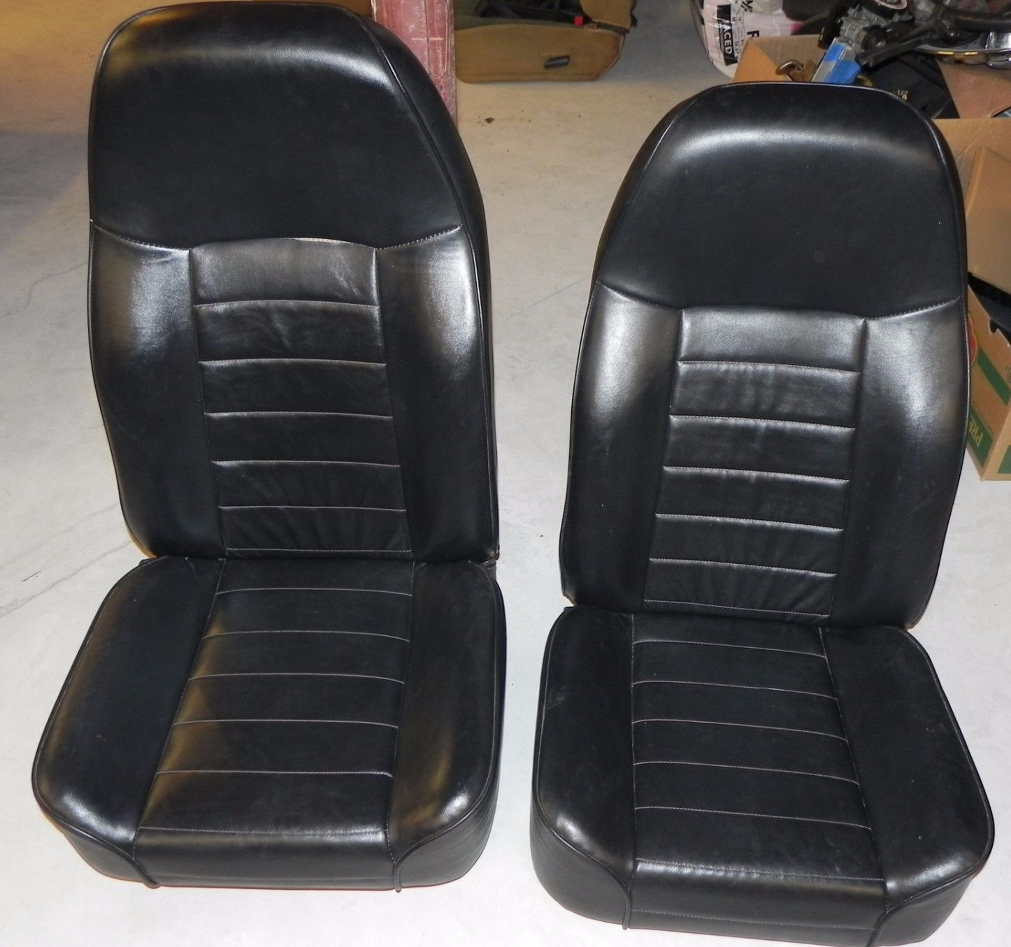 Jeep Wrangler Yj Cj Front Black Leather Seats Pair Jeep