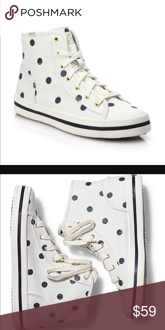a3a126e314b2 💙Keds kate spade polka dot high tops💙 New without box. White keds high  tops with blue sparkle polka dots. Super cute! kate spade Shoes Sneakers