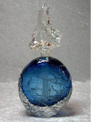 Antique Blue Glass Perfume Bottle, Rope