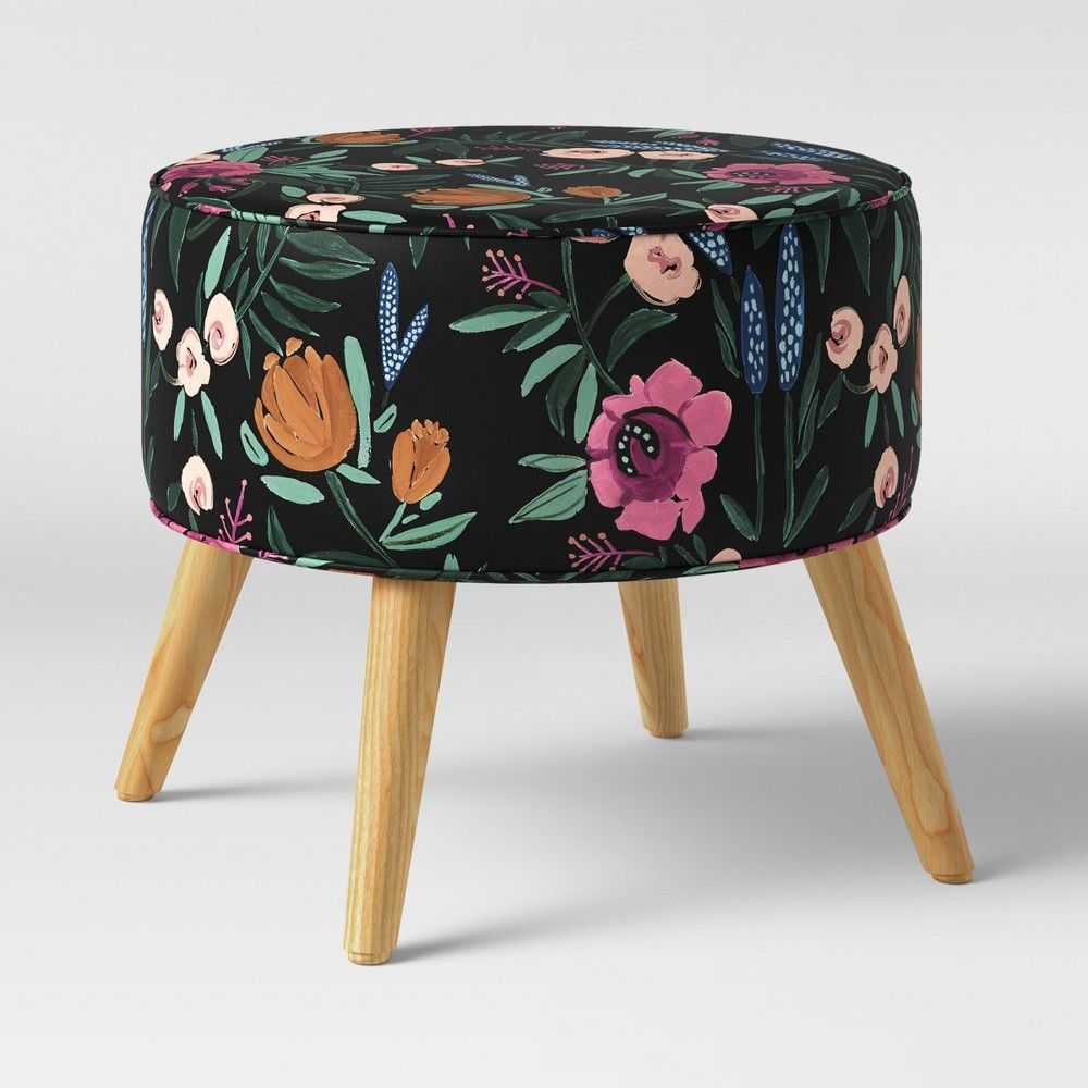 Awesome Riverplace Round Cone Leg Ottoman Black Floral Project 62 Gmtry Best Dining Table And Chair Ideas Images Gmtryco