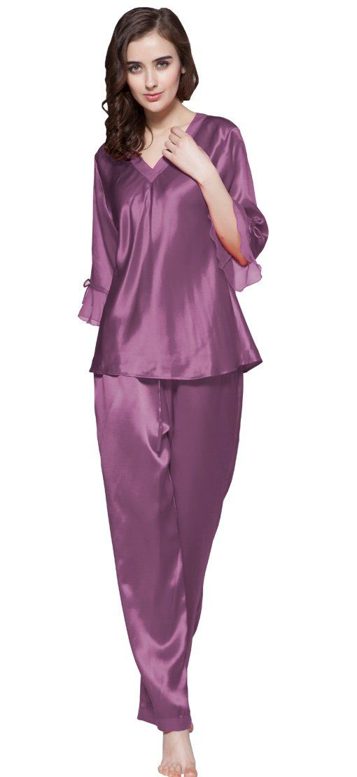 8cfd1a8fbc 2Pcs Women Laced Silk Pajama Set 100% Pure Silk 22 Momme By LilySilk - S  Violet