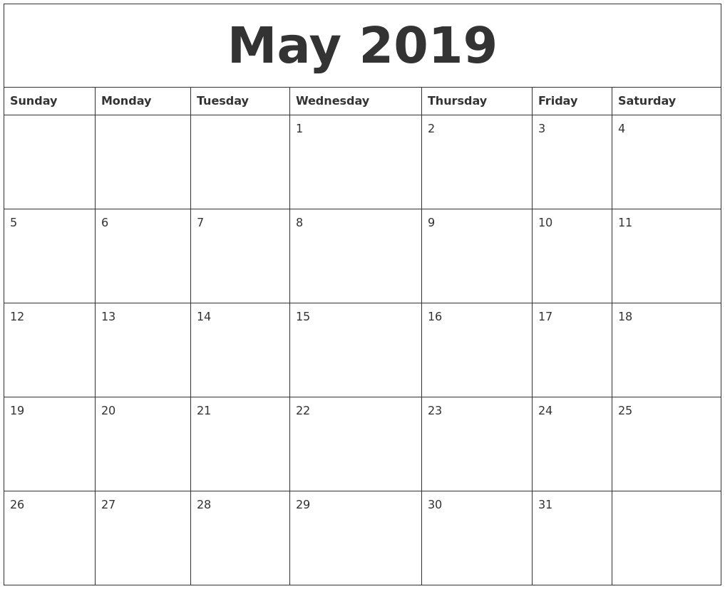 Calendar Pages To Print 2019.Image Result For Free Calendar Pages To Print May 2019 Cards And