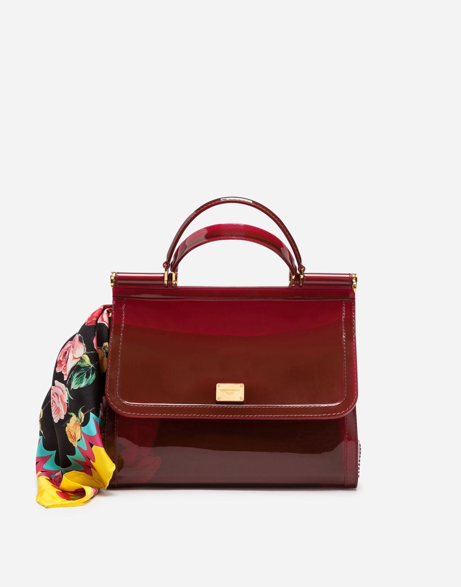 Dolce Gabbana Semi Transparent Rubber Burgundy Sicily Handbag 995
