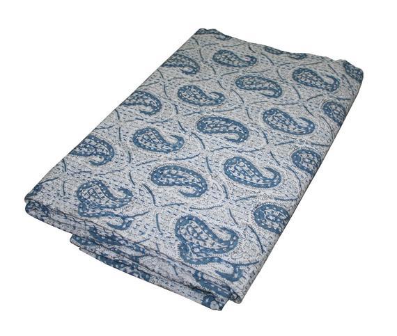 White Kantha Quilt Blanket Throw Hand Block Print Bedspread Kantha Bed Cover Art