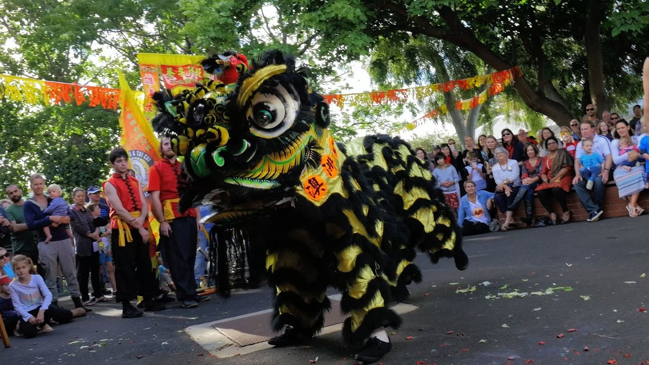 Lion Dance With Firecracker CNY 2017 Chinese New Year